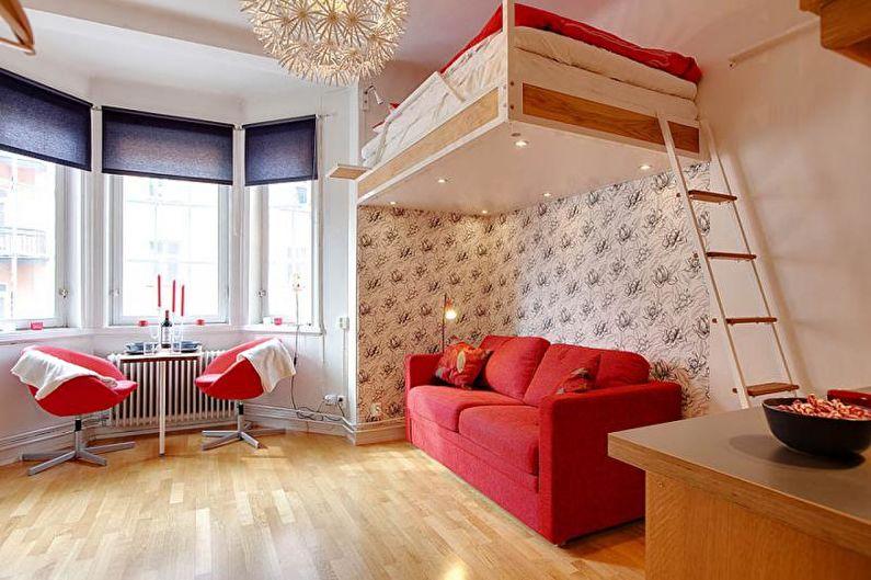 Дизайн однокомнатной квартиры 30 кв.м. - Двухъярусные конструкции