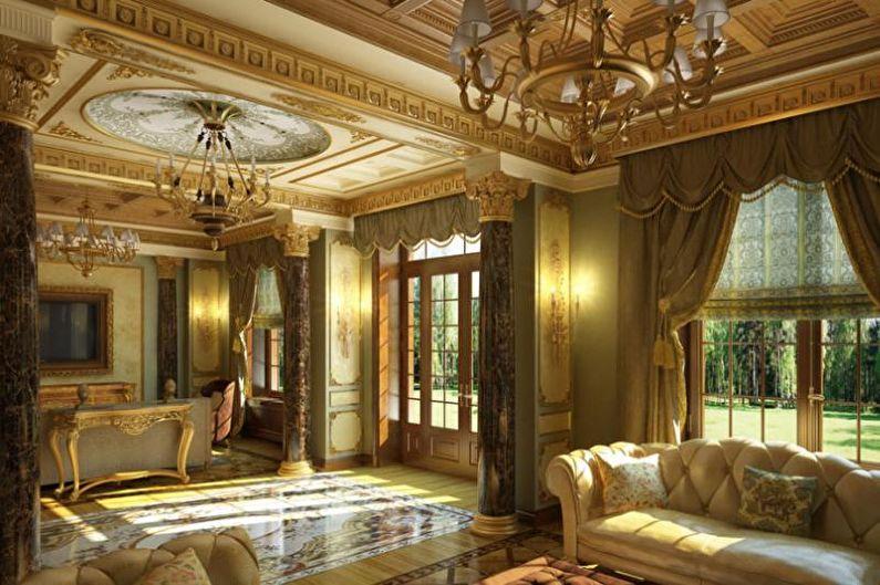 Гостиная в загородном доме в классическом стиле - Дизайн интерьера