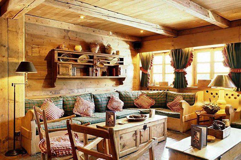 Гостиная в загородном доме в стиле кантри - Дизайн интерьера