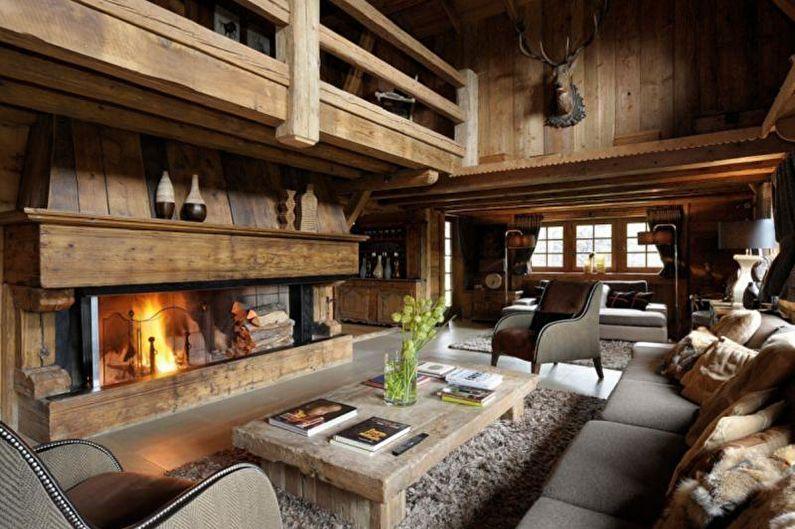 Гостиная в загородном доме в стиле шале - Дизайн интерьера