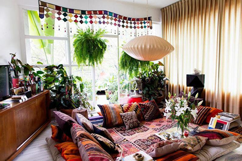 Гостиная в загородном доме в этническом стиле - Дизайн интерьера