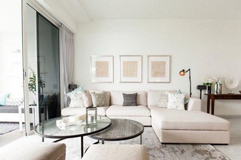 Дизайн гостиной в загородном доме - Нейтральные сочетания