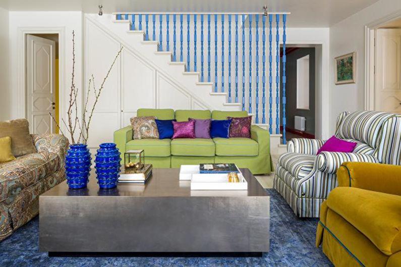 Дизайн гостиной в загородном доме - Холодные сочетания