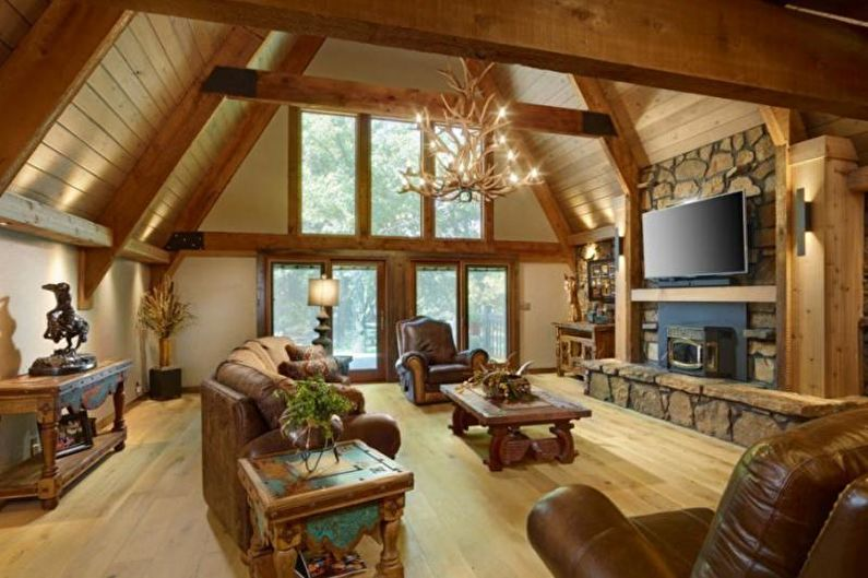 Дизайн гостиной в загородном доме - Теплые сочетания