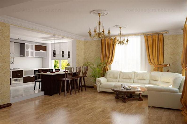 Дизайн гостиной в загородном доме - Отделка потолка
