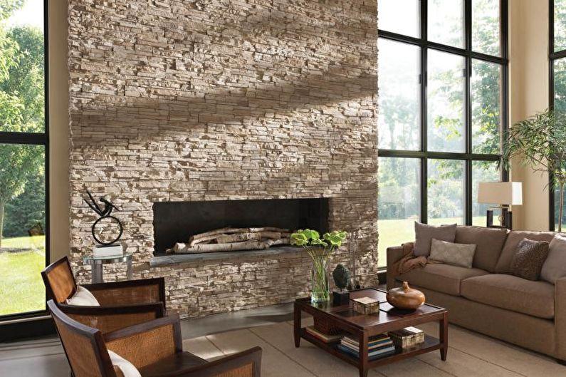 Дизайн гостиной в загородном доме - Отделка стен