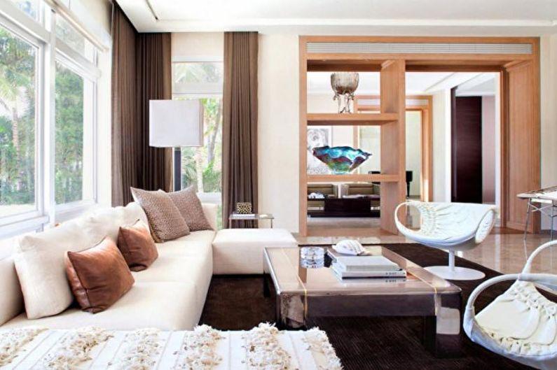 Дизайн интерьера гостиной в загородном доме - фото