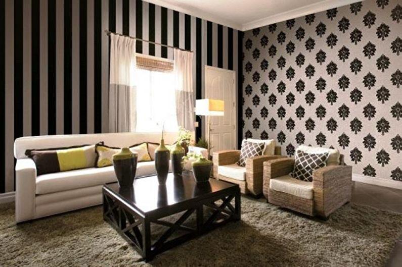 Комбинирование обоев в гостиной - Принты