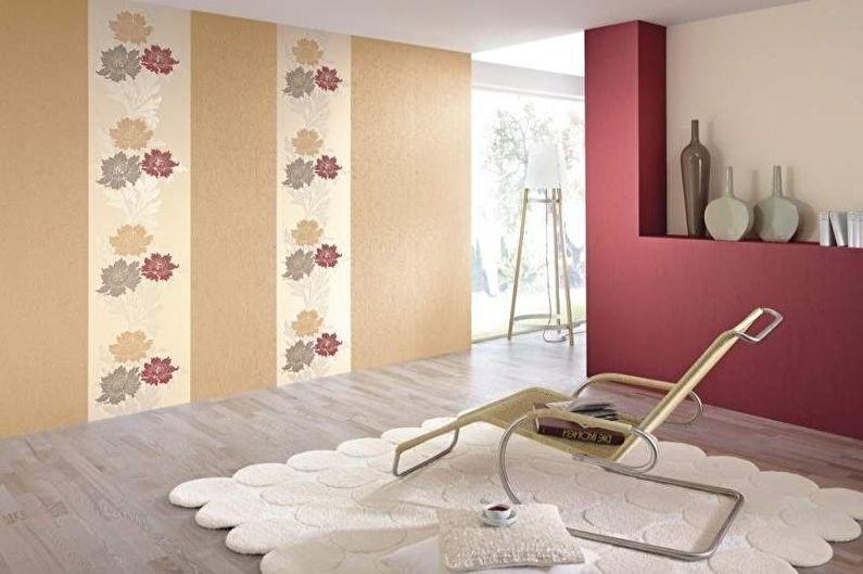 Комбинирование обоев в гостиной - Вертикальное комбинирование