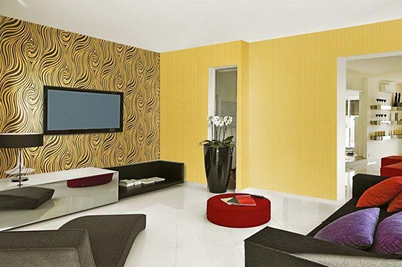 Комбинирование обоев в гостиной - фото