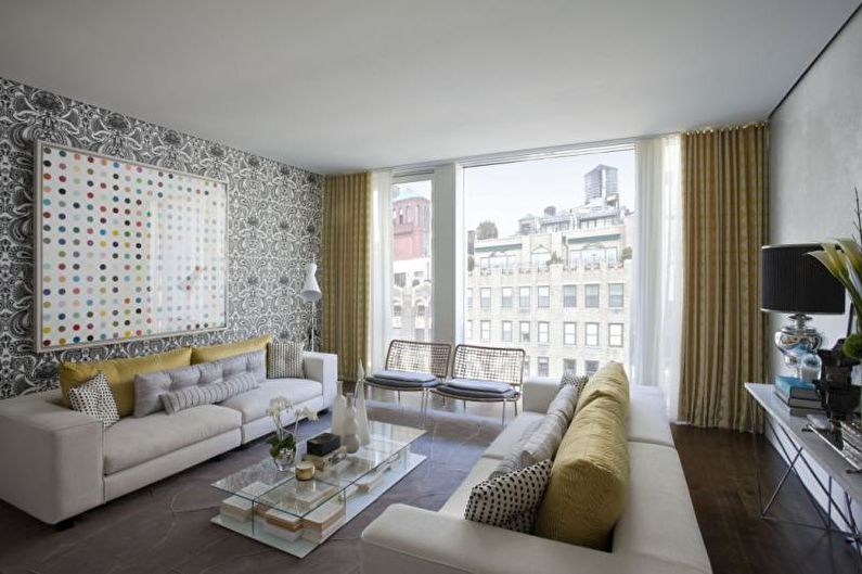 Серые обои в гостиной - Дизайн интерьера фото