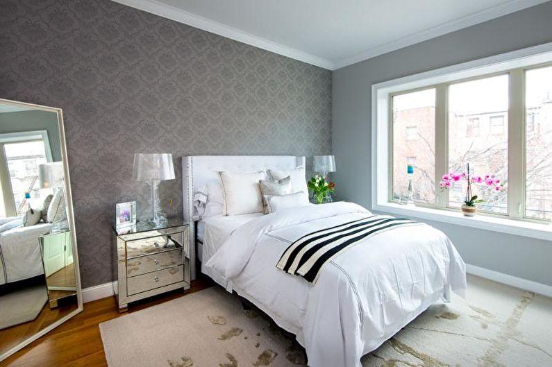 Серые обои в спальне - Дизайн интерьера фото