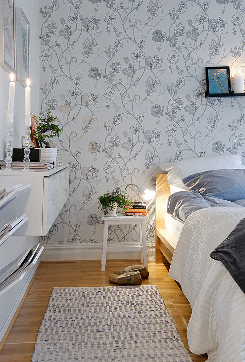серые обои фото в спальне