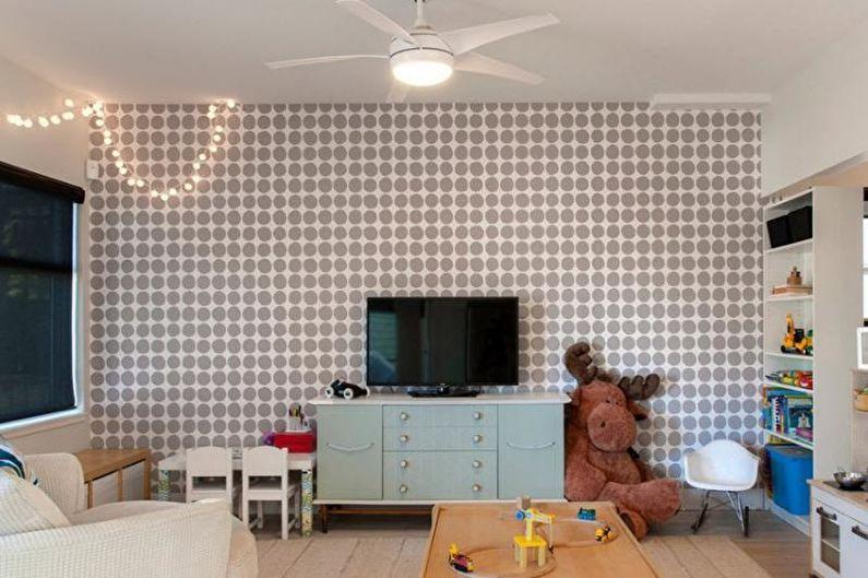 Серые обои в детской комнате - Дизайн интерьера фото
