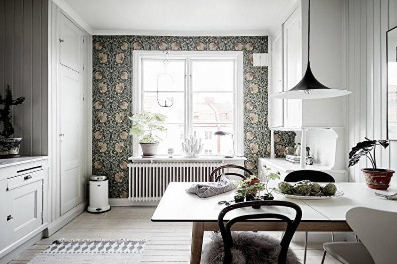 Серые обои на кухне - Дизайн интерьера фото
