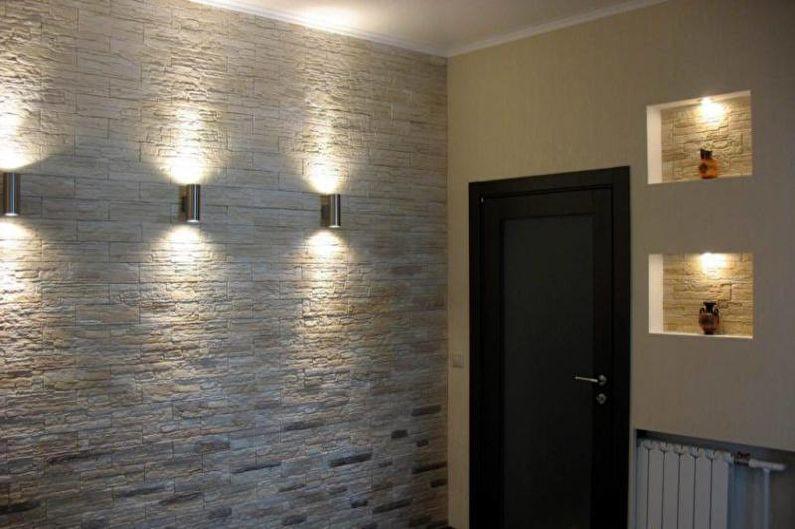 Декоративный камень в интерьере прихожей - Декор, аксессуары, свет