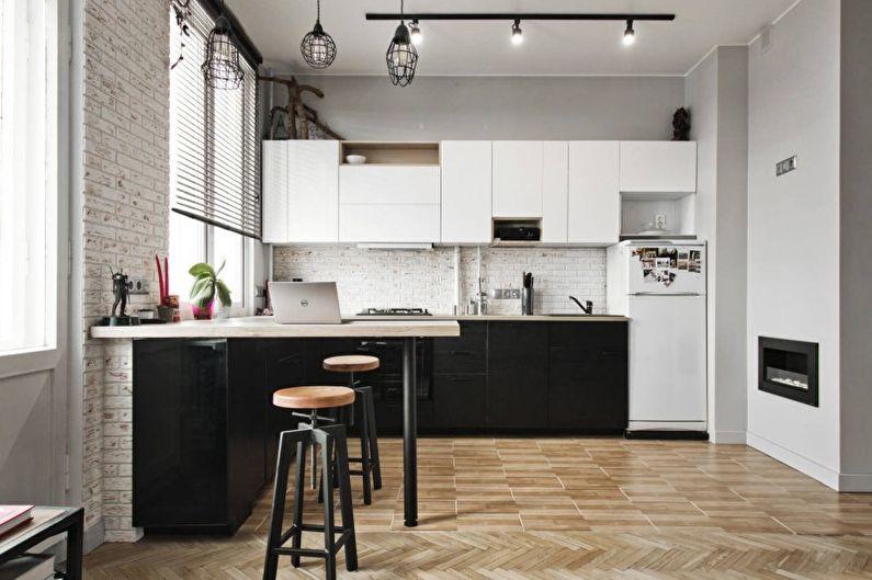 Светлая кухня в стиле лофт - Дизайн интерьера
