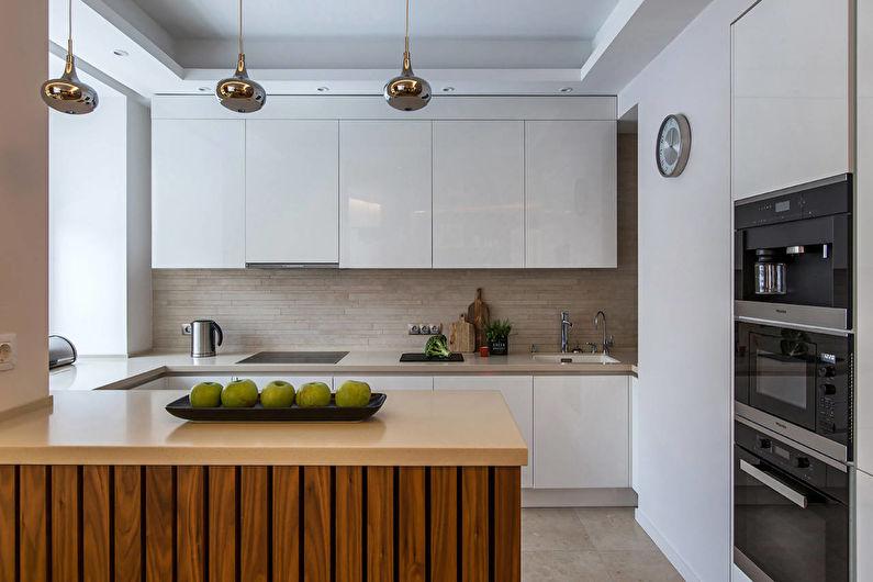 Дизайн кухни в светлых тонах - Отделка потолка