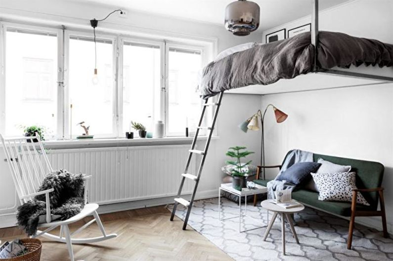 Дизайн однокомнатной квартиры 33 кв.м. - Кровать-чердак