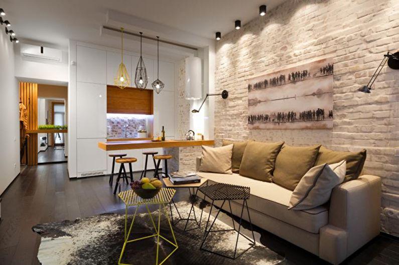 Кухня - Дизайн однокомнатной квартиры 33 кв.м.