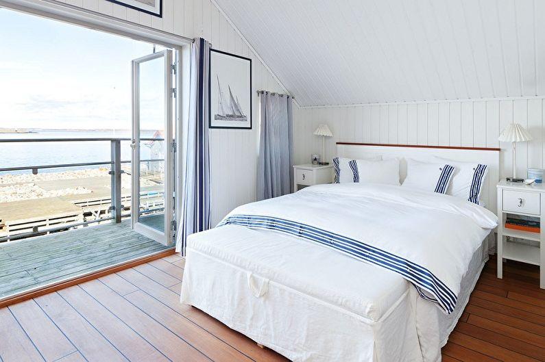 Белая спальня в морском стиле - Дизайн интерьера