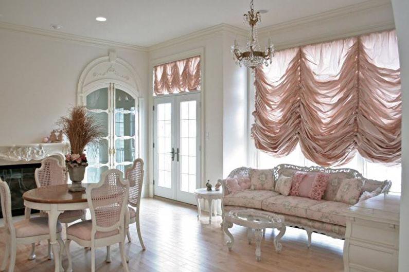 Французские шторы - Дизайн штор для гостиной