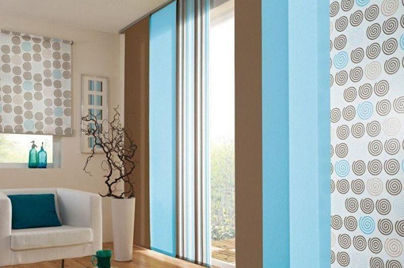 Японские шторы - Дизайн штор для гостиной