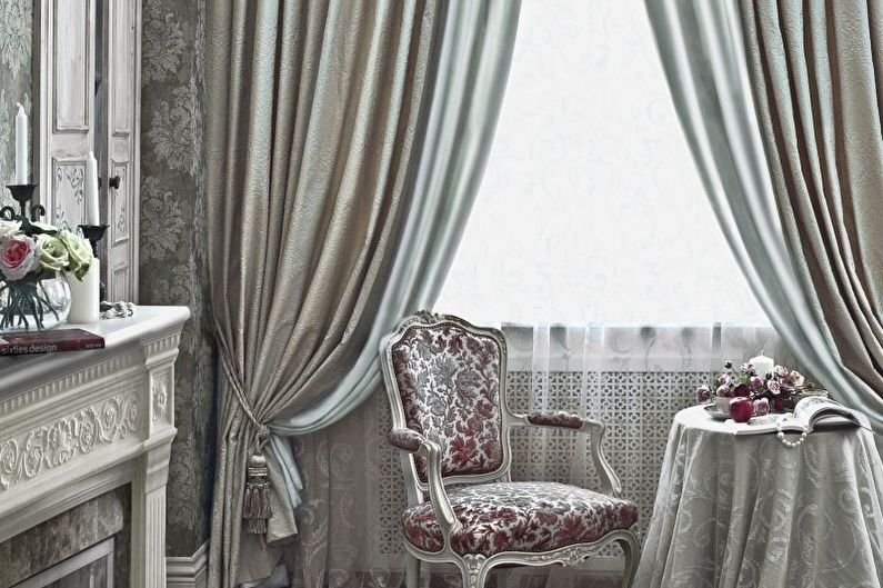 Дизайн штор для гостиной - Жаккард