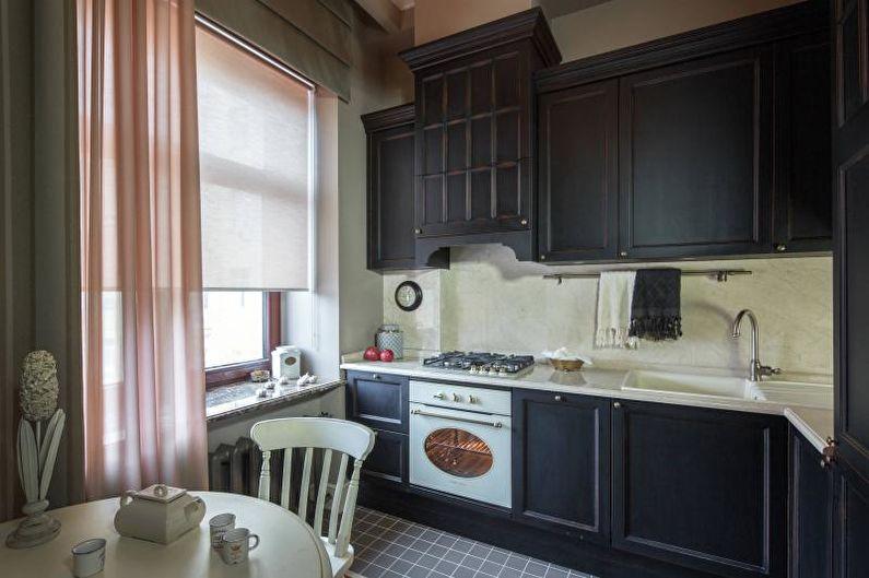 Черно-белая кухня в классическом стиле - Дизайн интерьера