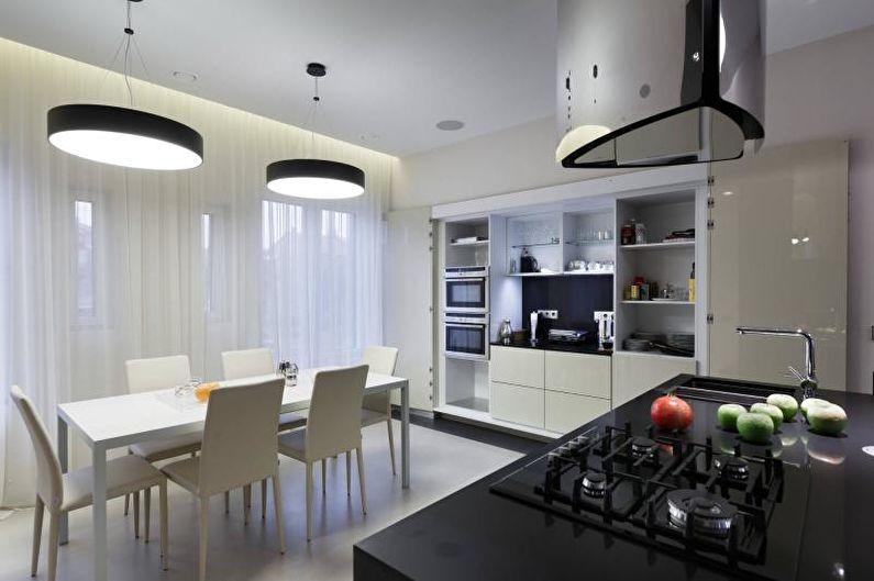 Черно-белая кухня в современном стиле - Дизайн интерьера
