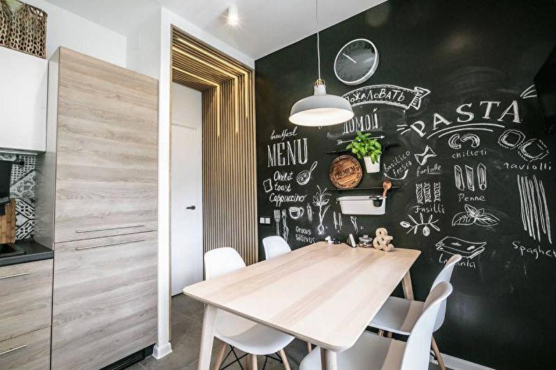 Черно-белая кухня в скандинавском стиле - Дизайн интерьера