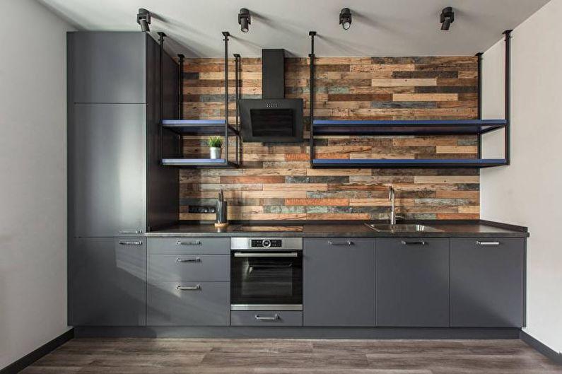 Черно-белая кухня в стиле лофт - Дизайн интерьера