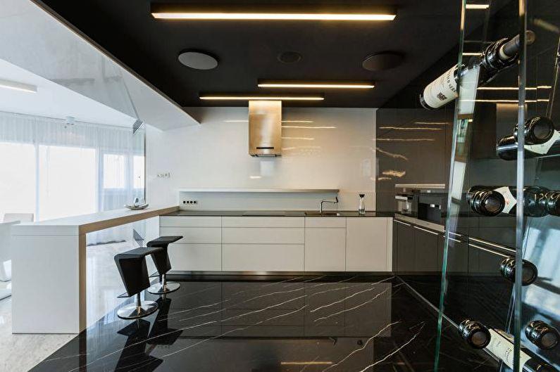 Дизайн черно-белой кухни - Отделка пола