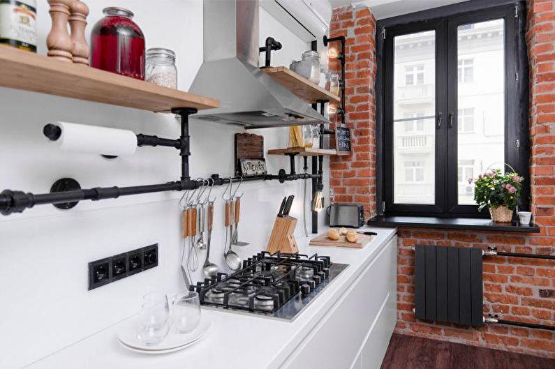 Дизайн черно-белой кухни - Отделка стен