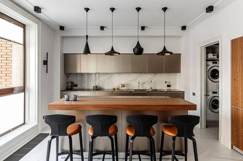 Дизайн черно-белой кухни - Отделка потолка