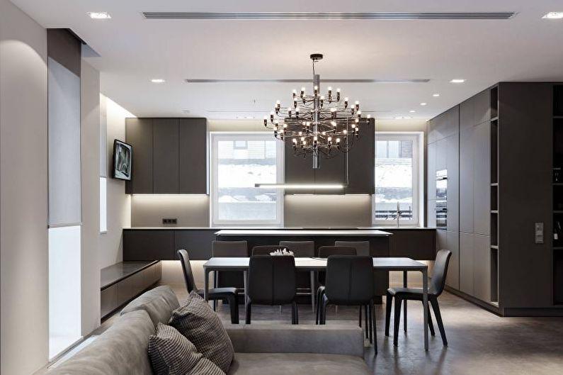 Дизайн черно-белой кухни - Освещение