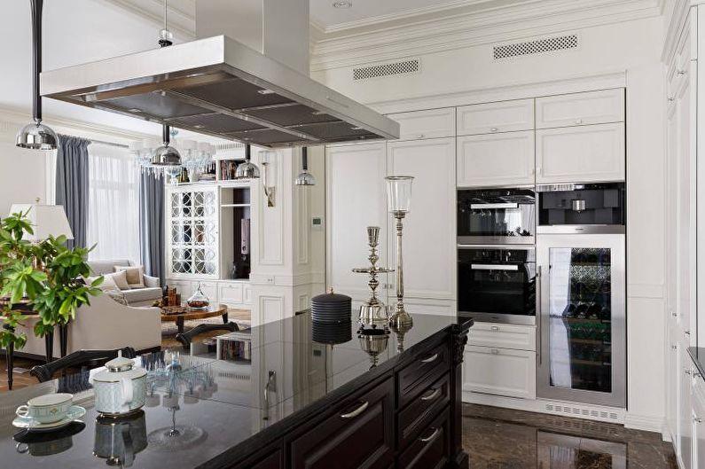Дизайн интерьера кухни в черно-белых тонах - фото