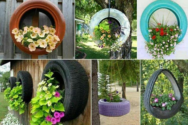 Цветы для дачи - Цветник в автошинах
