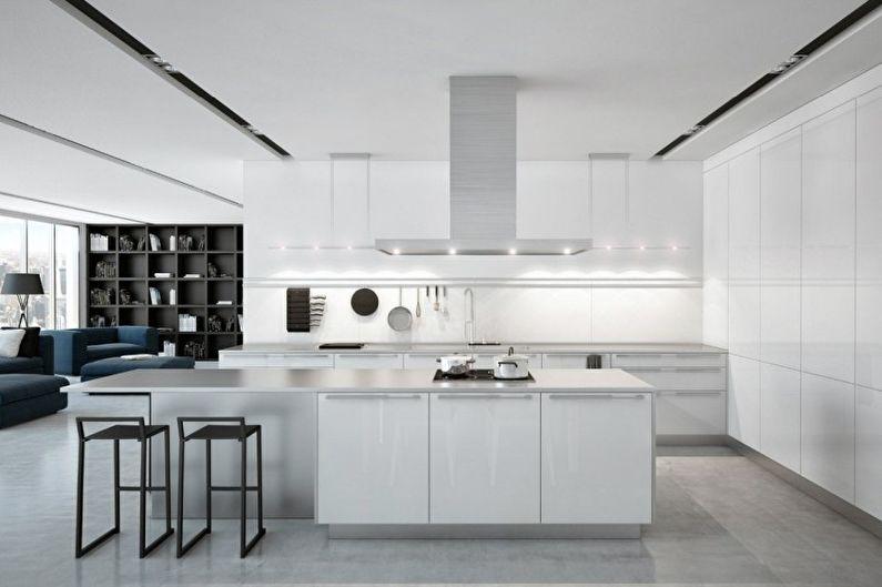 Белая кухня в стиле хай-тек - Дизайн интерьера