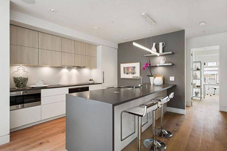 Серая кухня в стиле хай-тек - Дизайн интерьера