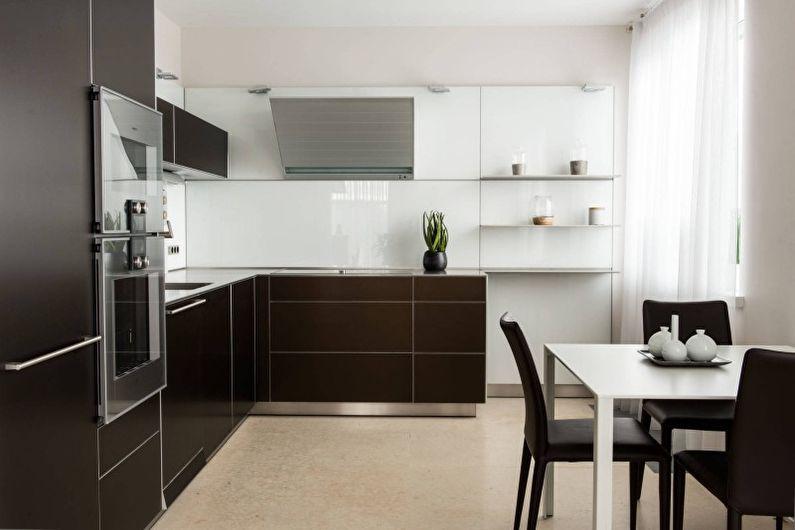 Коричневая кухня в стиле хай-тек - Дизайн интерьера