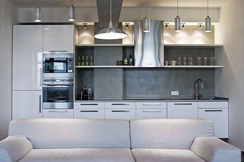Серебристая кухня в стиле хай-тек - Дизайн интерьера