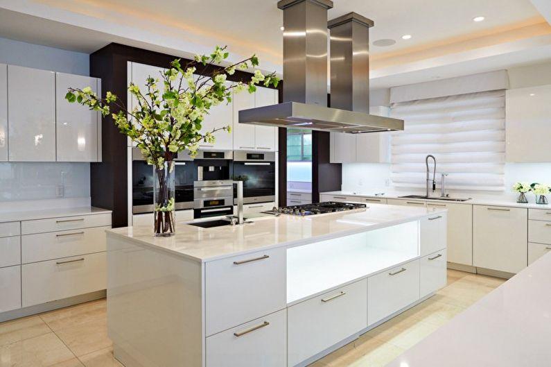 Бежевая кухня в стиле хай-тек - Дизайн интерьера