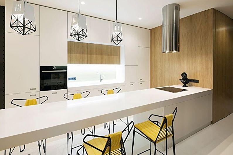 Дизайн кухни в стиле хай-тек - Отделка потолка
