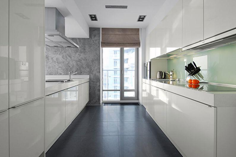 Дизайн кухни в стиле хай-тек - Отделка пола