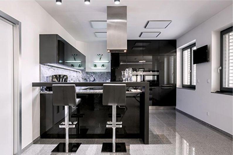 Дизайн кухни в стиле хай-тек - Мебель