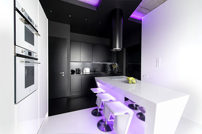Дизайн кухни в стиле хай-тек - Освещение