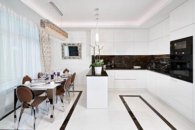 Белая кухня в стиле арт-деко - Дизайн интерьера
