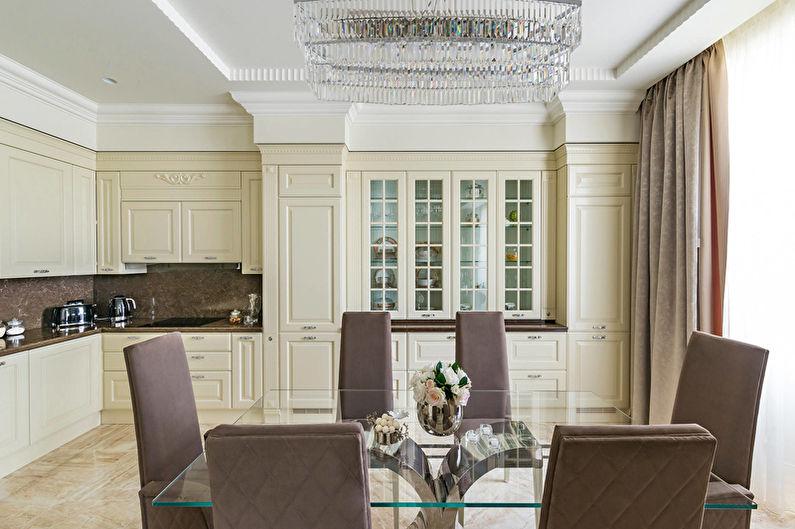 Бежевая кухня в стиле арт-деко - Дизайн интерьера