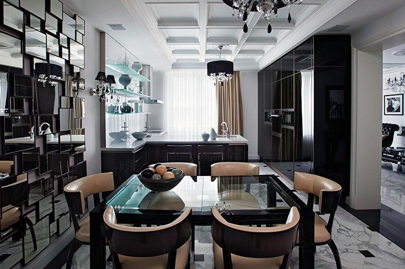 Черная кухня в стиле арт-деко - Дизайн интерьера
